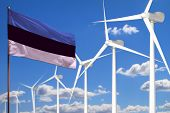 Estonia Alternative Energy, Wind Energy Industrial Concept With Windmills And Flag - Alternative Ren poster