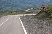 Mountain Road. Shemakha Mountain Road In Mountains. Cloudy Sky With Mountain Road Of Azerbaijan. Cau poster