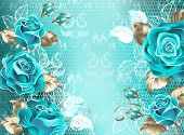 Turquoise Lace Background With Turquoise Roses, Decorated With Leaves Of White Lace And White Gold.  poster