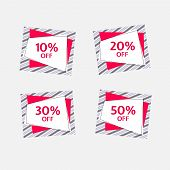 Tag Ads Sale 10, 20, 30, 50% Off Banner Of Polygons And Stripes Lines On A White Background Modern D poster