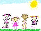 Diverse Child Like Drawing