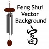 foto of sounding-rod  - Feng Shui Vector background with Wind Chime - JPG
