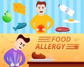 Food Allergy Banner Set. Cartoon Illustration Of Food Allergy Vector Banner Set For Web Design poster
