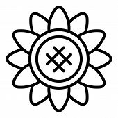 Sunflower With Rounded Petals Icon. Outline Sunflower With Rounded Petals Vector Icon For Web Design poster