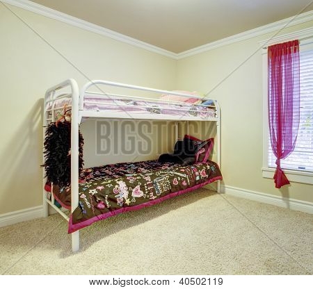 Kids Bedroom With Double Bunk Metal Bed.
