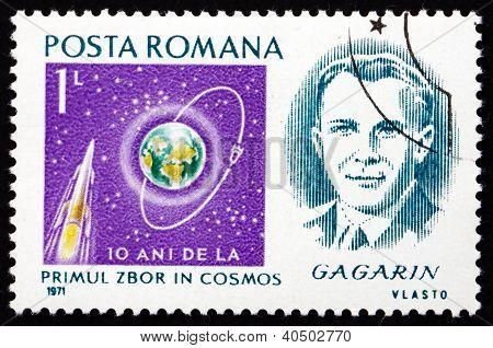 Postage stamp Romania 1971 Yuri Gagarin, Astronaut