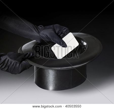 Magic Stovepipe Hat And Gloved Hands