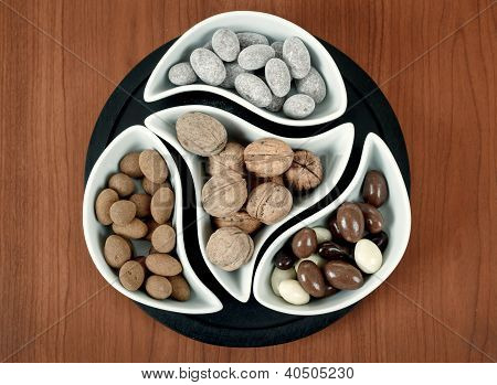 Almonds In Chocolate And Walnuts