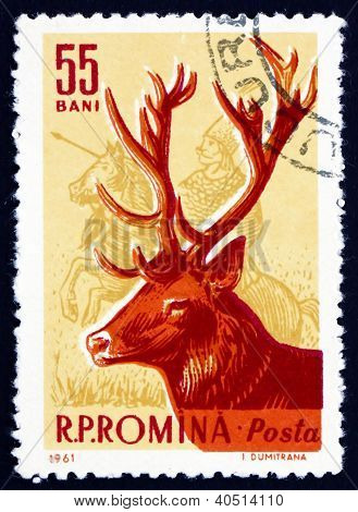 Postage stamp Romania 1961 Red Deer, Cervus Elaphus, Animal
