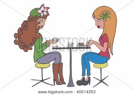two girls having coffee