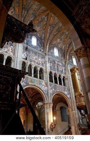 Painted Walls Of Parma Cathedral, Italy