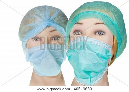 Dummy Doctor Head Wearing Textile Surgical Cap And Mask