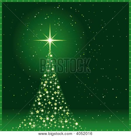 Square Green Christmas Background With Christmas Tree