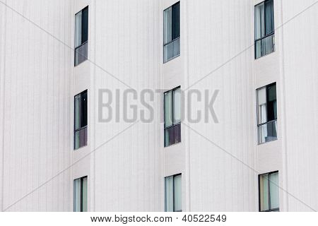 Outside facade of modern apartment block building