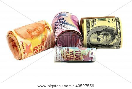 Hundred And Two Hundred Turkish Lira And Dollars On White Background