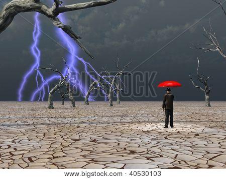 Homem leva na tempestade protegido sob o guarda-chuva