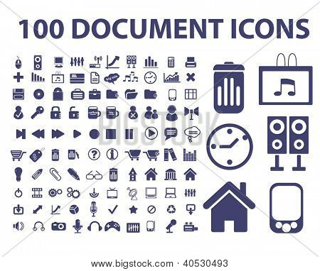 100 document, web office icons set, vector
