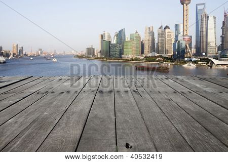 modern city with wooden floor
