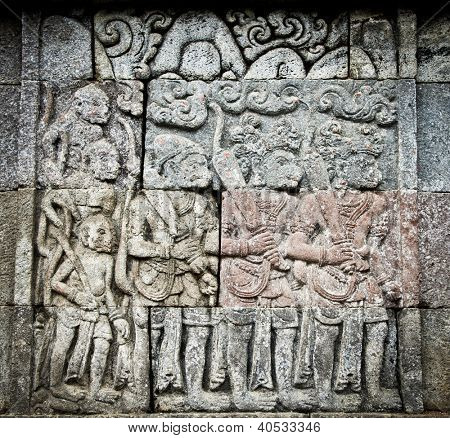 Stone craft in Candi Penataran temple in Blitar on east Java,  Idonesia.