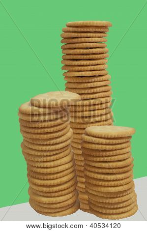Three Stacks Of Crackers