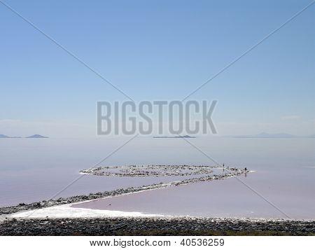 Spiral Jetty In Salt Lake, Utah