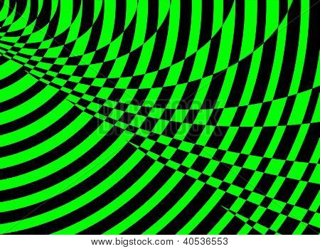 Bright Green And Black Swirl And Square Geometric Background
