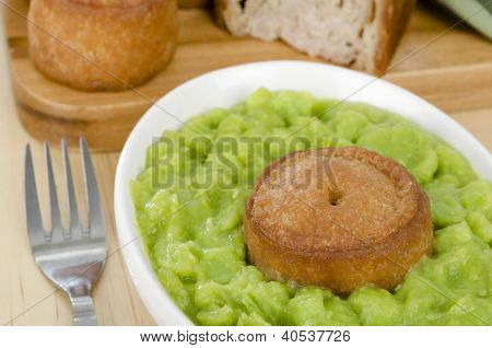 Melton Mowbray Pork Pie & Mushy Peas.