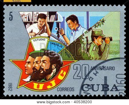 Vintage Postage Stamp. Communist Youth.