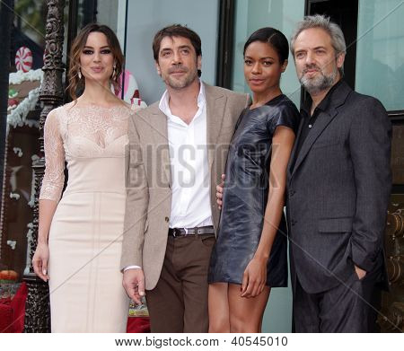LOS ANGELES - NOV 07:  Berenice Marlohe, Javier Bardem, Naomi Harris & Sam Mendes arriving to Walk of Fame Honors Javier Bardem  on November 07, 2012 in Hollywood, CA