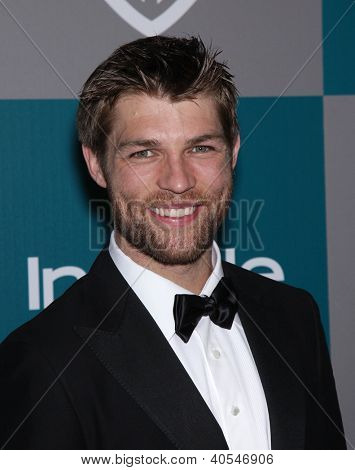 LOS ANGELES - JAN 15:  LIAM McINTYRE arriving to Golden Globes 2012 After Party: WB / In Style  on January 15, 2012 in Beverly Hills, CA