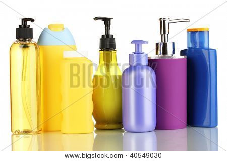A lot of different cosmetic products for personal care isolated on white