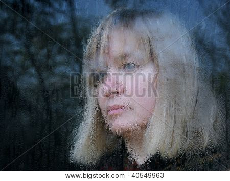 Blurred Portrait Of Middle-aged Woman