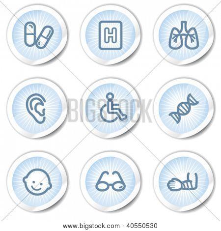 Medicine web icons set 2, light blue stickers