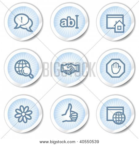 Internet web icons set 1, light blue stickers