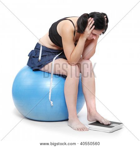 Depressed woman with measure tape.