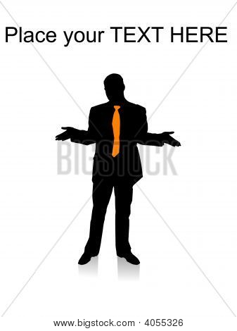 Surprised Businessman Posing With Hand Gesture