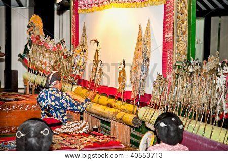 YOGYAKARTA, INDONESIA-JANUARY 4: Wayang Kulit on January 4, 2012 in Sonobudoyo museum,Yogyakarta, Indonesia. Masterpiece of Javanese performance arts presenting the story of Ramayana and Mahabharata.