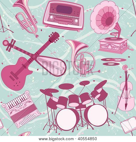 Seamless pattern with musical instruments and appliances
