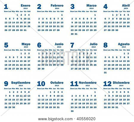 Calendar 2014 - Spanish Language