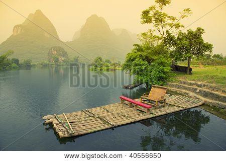 Bamboo rafting on river, Yangshou, China