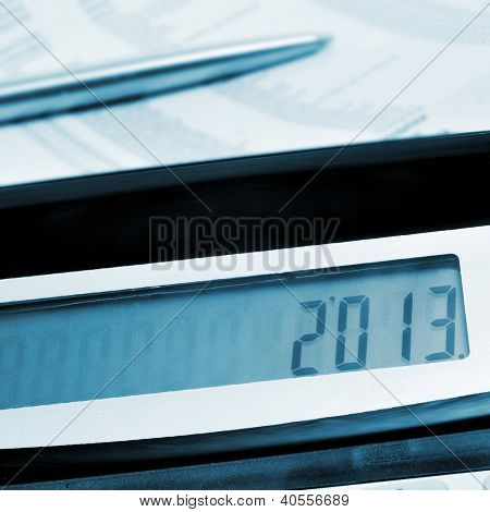 number 2013, as the new year, on the display of a calculator