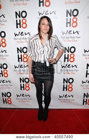 LOS ANGELES - DEC 12:  Courtney Jenae arrives to the NOH8 4th Anniversary Party at Avalon on December 12, 2012 in Los Angeles, CA