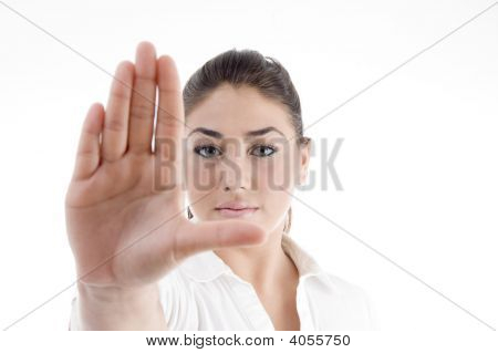 Young Attractive Woman With Stopping Gesture