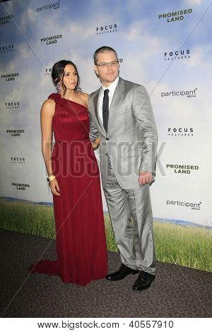 LOS ANGELES - DEC 6:  Matt Damon, Luciana Baroso arrives at the 'Promised Land' Premiere at Directors Guild of America on December 6, 2012 in Los Angeles, CA