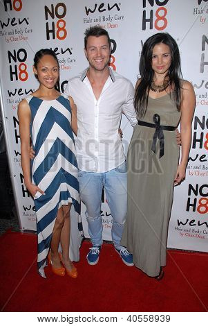 LOS ANGELES - DEC 12:  Lesley-Ann Brandt, Daniel Feuerriegel, Katrina Law arrive to the NOH8 4th Anniversary Party at Avalon on December 12, 2012 in Los Angeles, CA