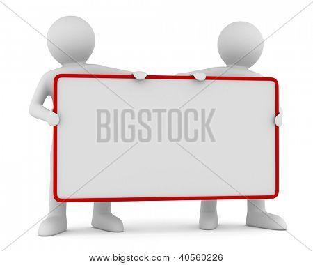 two man holds the poster in a hand. 3D image