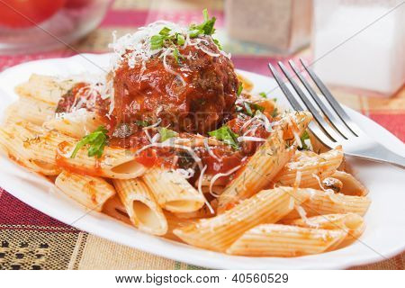 Macaroni pasta with meatball