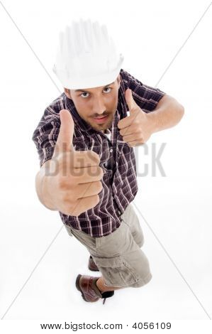 High Angle View Of Architect Showing Thumbs Up