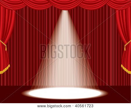 vector red empty stage with one big spot light