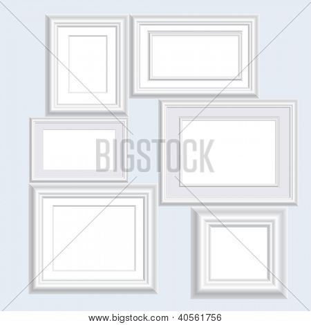 vector illustration of six blank white frames